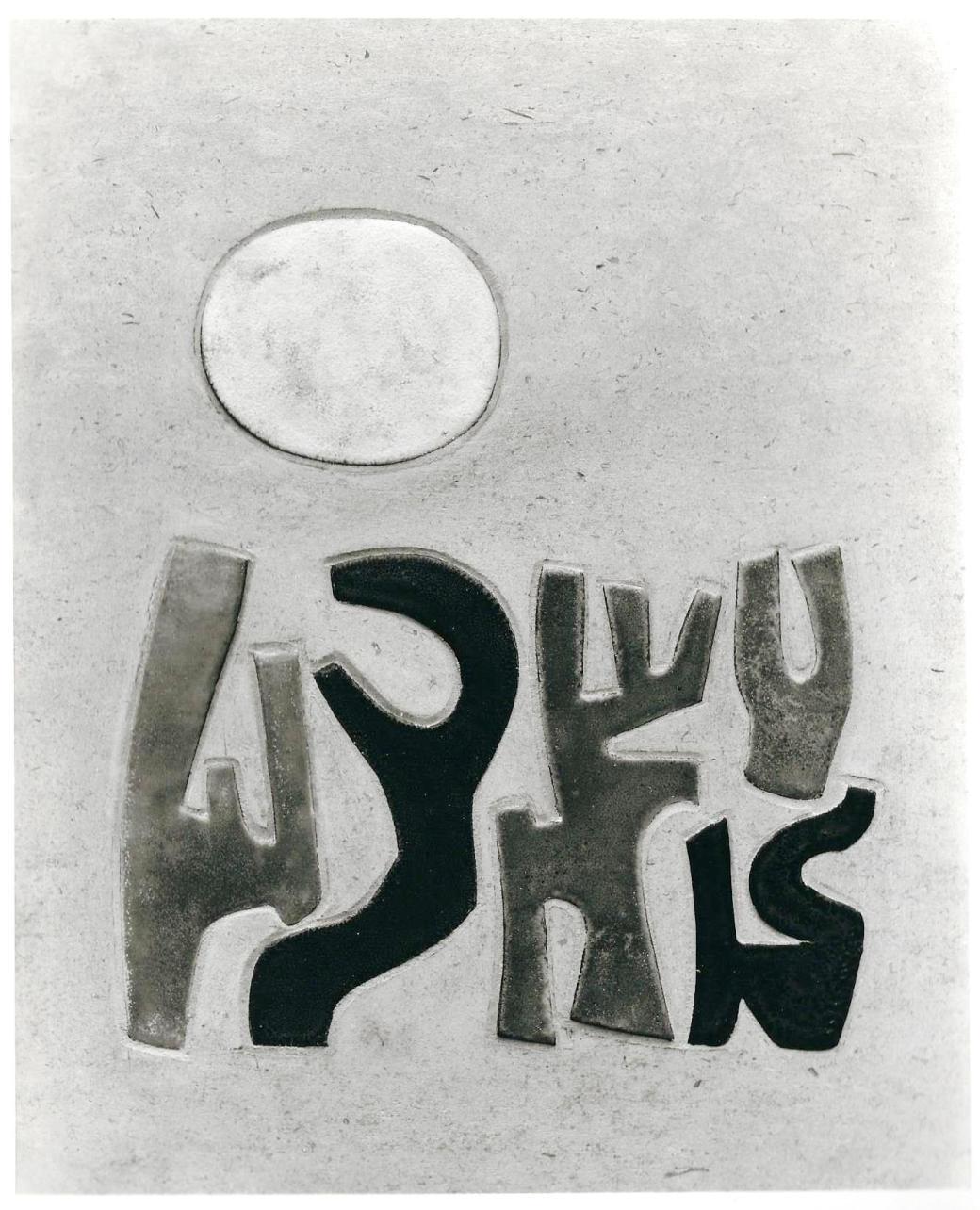 1958. Céramique incrustée dans la pierre (52,5 x 42,5)