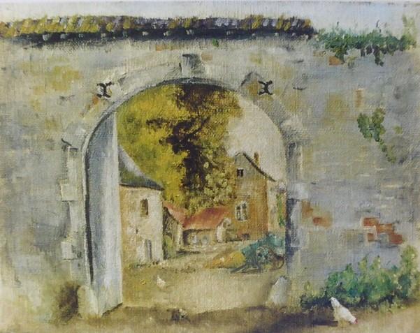 J 1 - Ferme d'Annevoie - 1937 - hst (21 x 27)